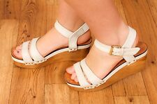 70s vintage style white leather wooden wedge sandals TOPSHOP sz 7