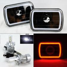 "7X6"" Black Glass CCFL Red Halo Headlights Pair w/ 6K 36W LED H4 Bulbs Plym"