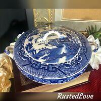 Antique Blue Willow JAPAN Casserole Dish Transferware Lidded Vegetable Bowl