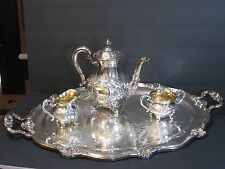REED & BARTON REGENT 5600C HAND CHASED SILVERPLATE 4-PC TEA/COFFEE SERVICE, RARE