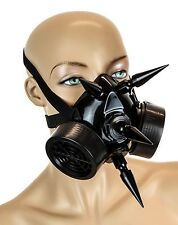 "Gas Mask Respirator Black 3"" Spike Punk Goth Rave Cyber Halloween Dual Filter"