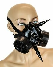 "Gas Mask Respirator Black 3"" Spike Punk Goth Rave Cyber Burning man Filter"