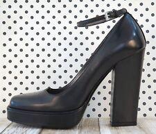 PRADA Pumps 35 Black Leather Mary Jane Platform Heels 5