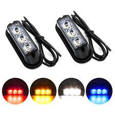 2PCS 3-LED Warning Emergency Strobe Lamps Waterproof Flashing Light Universal