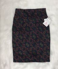 New Women's Lularoe Multi-Color Orange Purple Gold Patterned Cassie Pencil Skirt