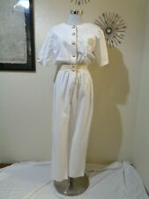 90s Petite Sophisticate White Cotton Gold Metallic Trim Nautical Jumpsuit 10P