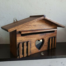 Vintage Style Wooden Mail Box Wall Mounted Post Hanging Xmas Gift Home Decor