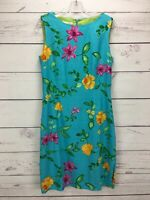 TALBOTS Blue 100% Linen Floral Sleeveless Sheath Side Slit Women's Dress Size 12