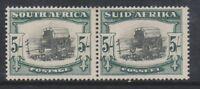South Africa - 1933, 5s Blk & Green - Horizontal Pair - Wmk Inv - M/M - SG 64aw