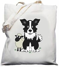 Border Collie Sheepdog naturale (crema) Cotone Borsa a tracolla/Shopper/Tote