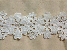 LM22 vintage bohemian bridal white heart-petal flower lace trim 9.5 cm x 2 yard