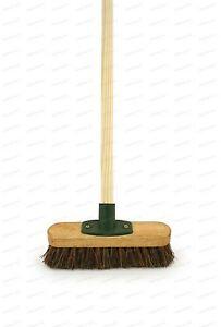 "9"" Deck Scrub Yard Scrubbing Brush Stiff Hard Bristle Outdoor Broom & Handle"