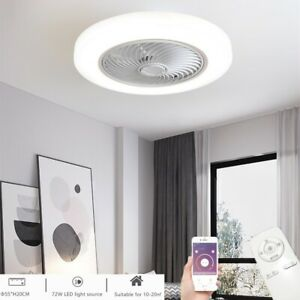 Smart APP Ceiling Fan 72W LED Dimmable Light Adjustable Wind Speed With Remote