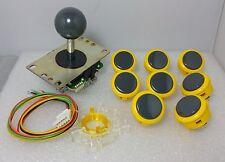 Set of 8 pcs Japan Sanwa Mix Yellow Gray Buttons & Gray Joystick & GT-Y Parts