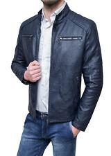 Giubbotto bomber uomo Diamond ecopelle blu scuro casual giubbino giacca coreana