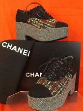 cdfb081ea932 15k CHANEL Multicolor Black Tweed CC Platform Oxfords Wedge Heel 41