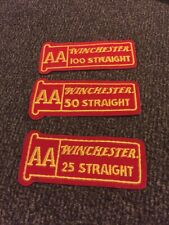 Lot Of 3 VTG Winchester AA Straight 25, 50, 100 Iron On Patches