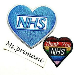 NHS HEART THANK YOU NSH HEART MULTI PATCH EMBROIDERED IRON SEW ON BADGE HELP