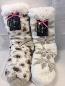 NWT 2 PAIR CUDDL DUDS WOMEN'S SHERPA LINED LOUNGE SOCKS WITH PLUSHFILL IVORY
