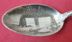 Aerial Bridge Duluth State of Minnesota  Sterling Silver Souvenir Spoon 5 3/8""
