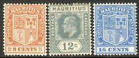Mauritius 1910 part set multi-crown CA mint SG187/188/189 (3)