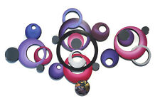 3 piece tranquility mirrored circles -purple n pink - 38x24 Contemporary Art69