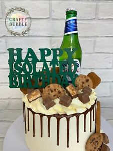 HAPPY ISOLATED BIRTHDAY CAKE TOPPER- ANY COLOUR wooden lockdown isolation FUN