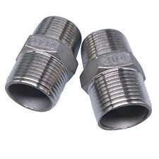 "US Stock 2pcs 3/4"" Male x 3/4"" Male Hex Nipple SS 304 Threaded Pipe Fitting NPT"