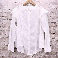 Current Elliott White Button Up Blouse Long Sleeve Ruffle Sleeve Womens Sz 2