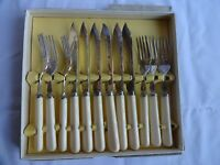 Vintage Silver Plated EPNS A1 Fish Knives & Forks by Jonell Sheffield boxed