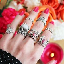 14PCS/set Retro Vintage Geometry Boho Style Finger Ring Silver Plated