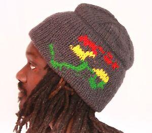 Strick Mütze OM Wolle woolen hat knitted OM Symbol, Rasta, Goa,Yoga