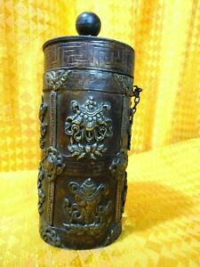 An Antique Tibetan Buddhist Container Pot Copper Silver Auspicious Symbols