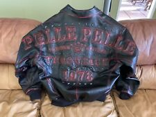 """Mens (48) Pelle Pelle Premium Leather Red Ghost Stitch """" THOWBACK """" Jacket~Black"""