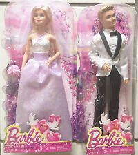 Barbie & Ken Black & White Tuxedo Fairytale Bride & Groom Wedding Dolls  New  3+