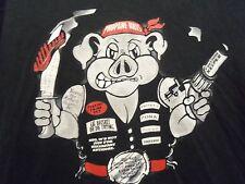 Blazing Swine BBQ black graphic L propane kills t shirt pig n knife n gun