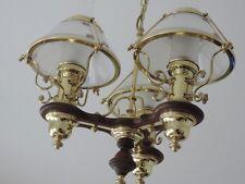 HÄNGELAMPE LAMPE LANDHAUS STIL RUSTIKAL PETROLEUMLAMPEN-STIL MESSING HOLZ GLAS