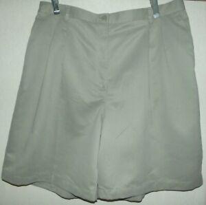 "Karen Scott Sport Size 16 Tan Beige High Waist 7.5"" Bermuda Shorts pleated xl"