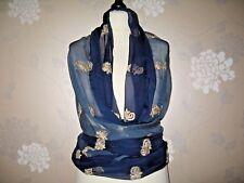 Shawl /wrap - stole / embroidery/bead sheer  blue chiffon