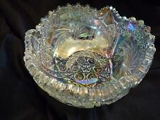 L E Smith Luminescent Colors Carnival Glass Bowl Heritage Pinwheel Saw Tooth Rim