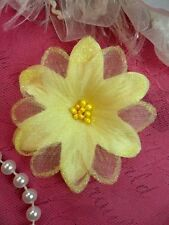 "Organza Flower Applique 3D Sheer Yellow Glitter Beaded 2.5"" (GB422-yl)"