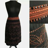 MONSOON Petite Skirt Size 8 Black A-line Copper Embroidered Beaded Knee Length