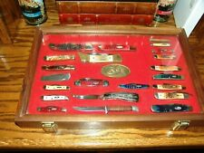 LOT OF 22 CASE KNIFE COLLECTION & DISPLAY CASE
