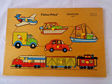 Vintage 1973 Fisher Price Wood Childrens Puzzle 8 Piece VEHICLES #508 Wooden Peg
