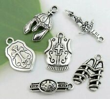 6 ARMOR OF GOD Charms, Antique Silver Mixed Collection Lot Set Christian Theme