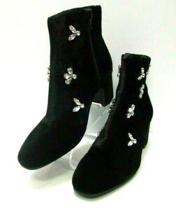 Anne Klein, Women Black Glinda Black Velvet Short Boots Rhinestone Accent Size 6