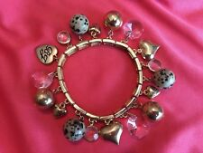Betsey Johnson Vintage Crystal Gold Puffy Heart Leopard LOVE Stretch Bracelet
