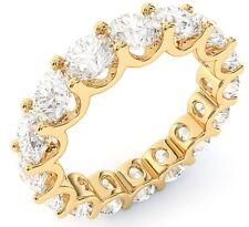 "4.80 ct Round Diamond Ring 14k Yellow Gold Eternity ""U"" Band Sz 5.5 0.30 ct each"