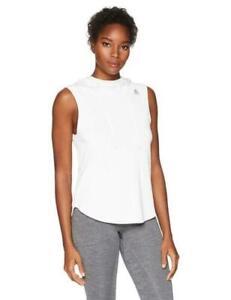SALE! NEW Reebok Women's Workout Ready Sleeveless Hoodie,  White / Black/ Purple