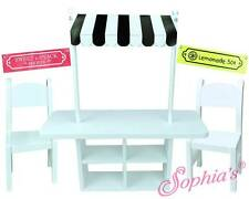 "Lemonade Stand Concession Table, Chairs w/ 3 Banners for 18"" American Girl Dolls"